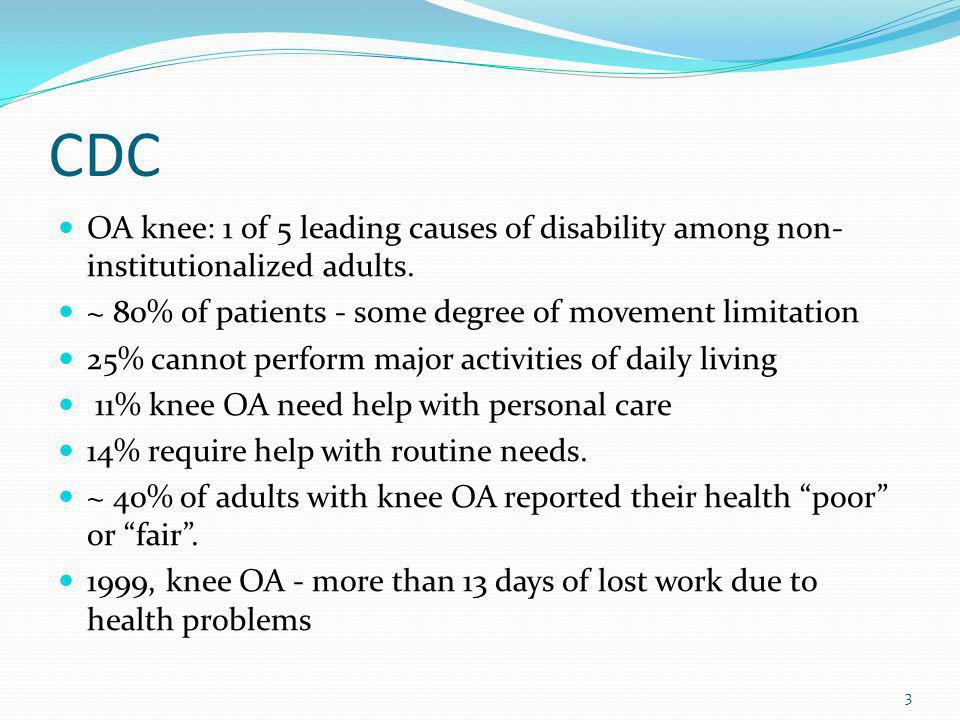 CDC OA knee: 1 of 5 leading causes of disability among non-institutionalized adults. ~ 80% of patients - some degree of movement limitation.