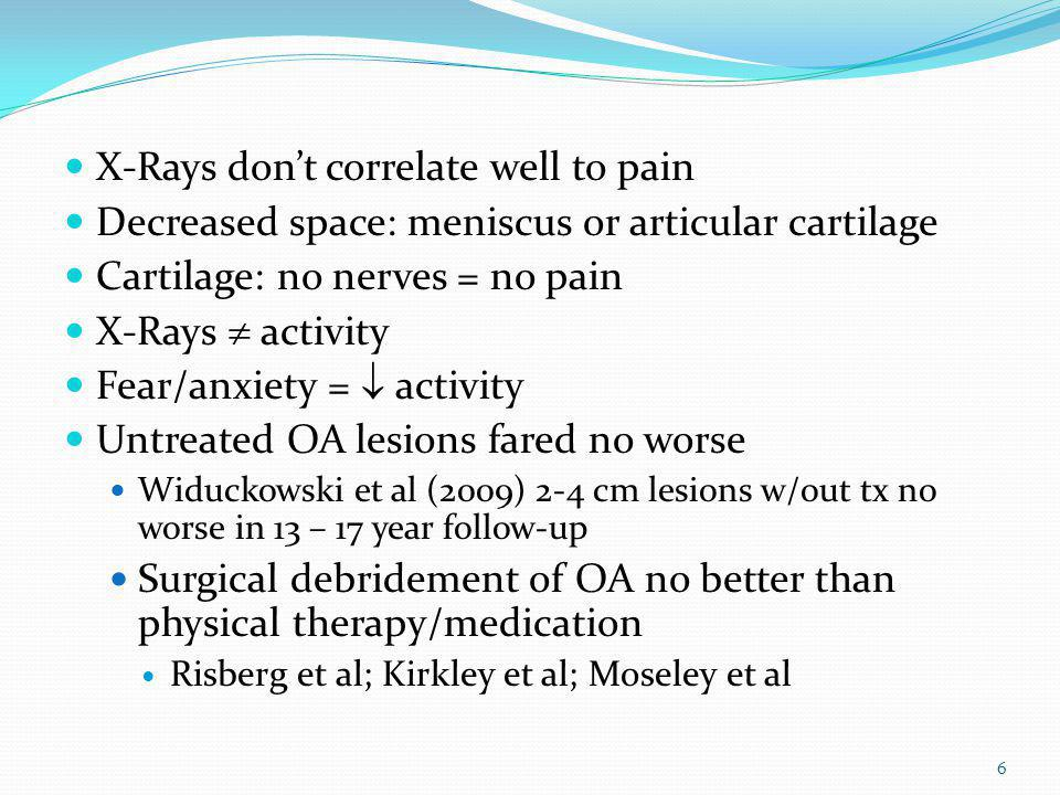X-Rays don't correlate well to pain