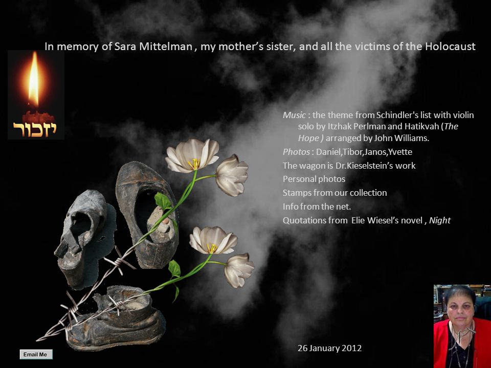 In memory of Sara Mittelman , my mother's sister, and all the victims of the Holocaust
