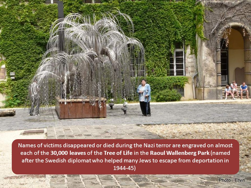 Names of victims disappeared or died during the Nazi terror are engraved on almost each of the 30,000 leaves of the Tree of Life in the Raoul Wallenberg Park (named after the Swedish diplomat who helped many Jews to escape from deportation in 1944-45)