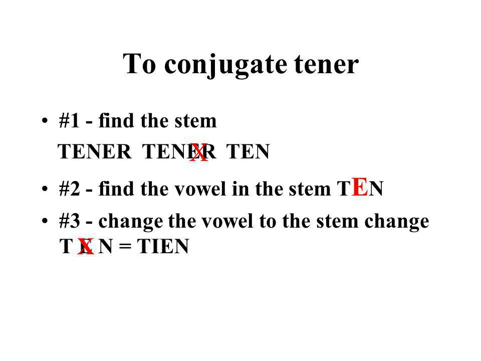 To conjugate tener X X #1 - find the stem TENER TENER TEN