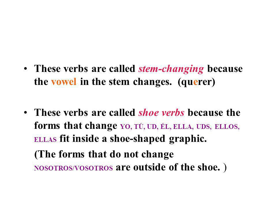 These verbs are called stem-changing because the vowel in the stem changes. (querer)