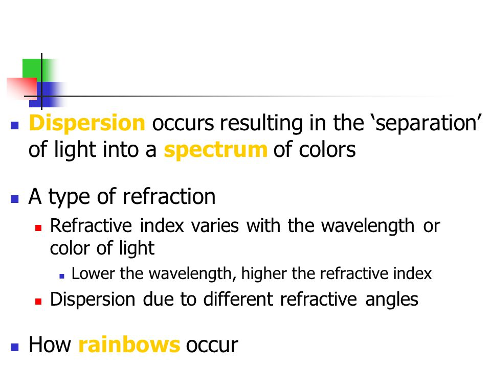 Dispersion occurs resulting in the 'separation' of light into a spectrum of colors