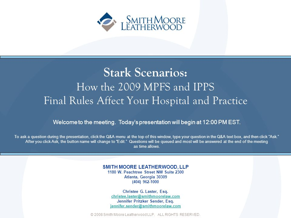 Stark Scenarios: How the 2009 MPFS and IPPS Final Rules Affect Your Hospital and Practice