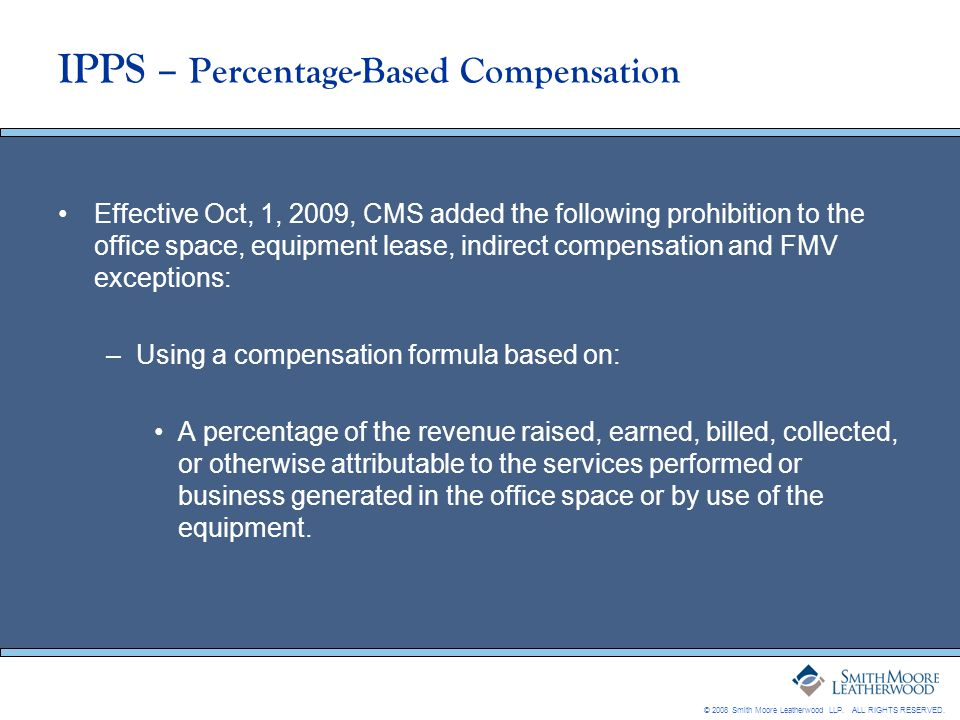 IPPS – Percentage-Based Compensation