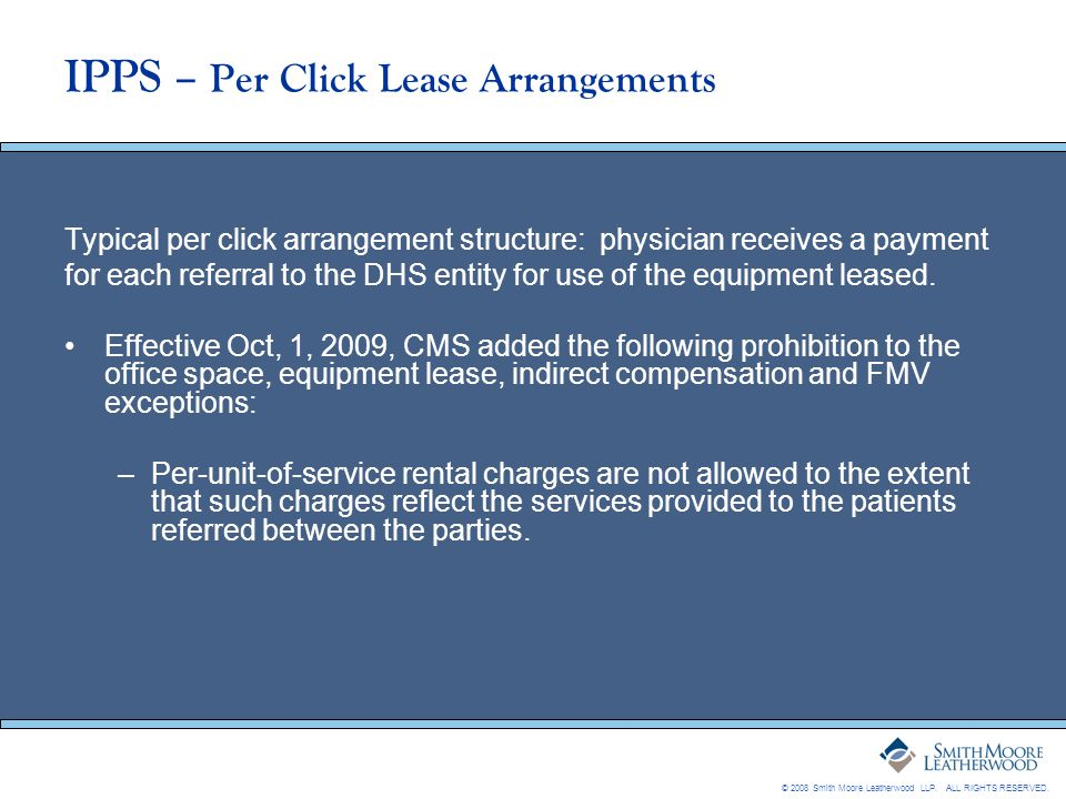 IPPS – Per Click Lease Arrangements