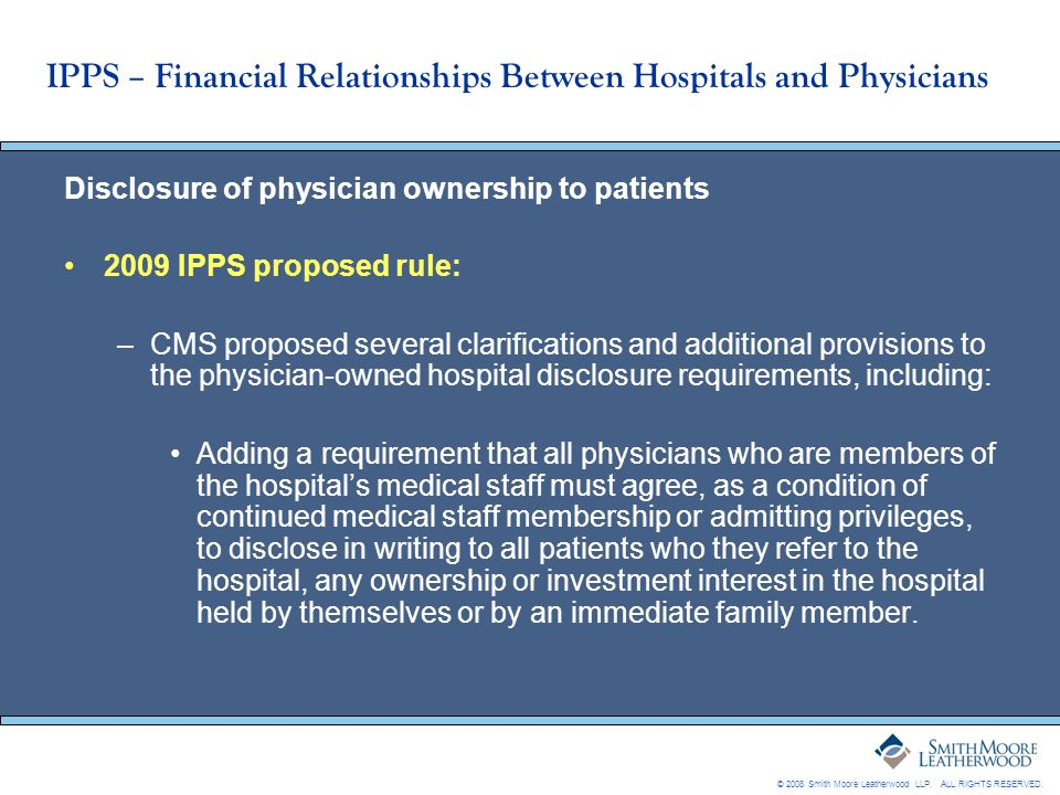 IPPS – Financial Relationships Between Hospitals and Physicians