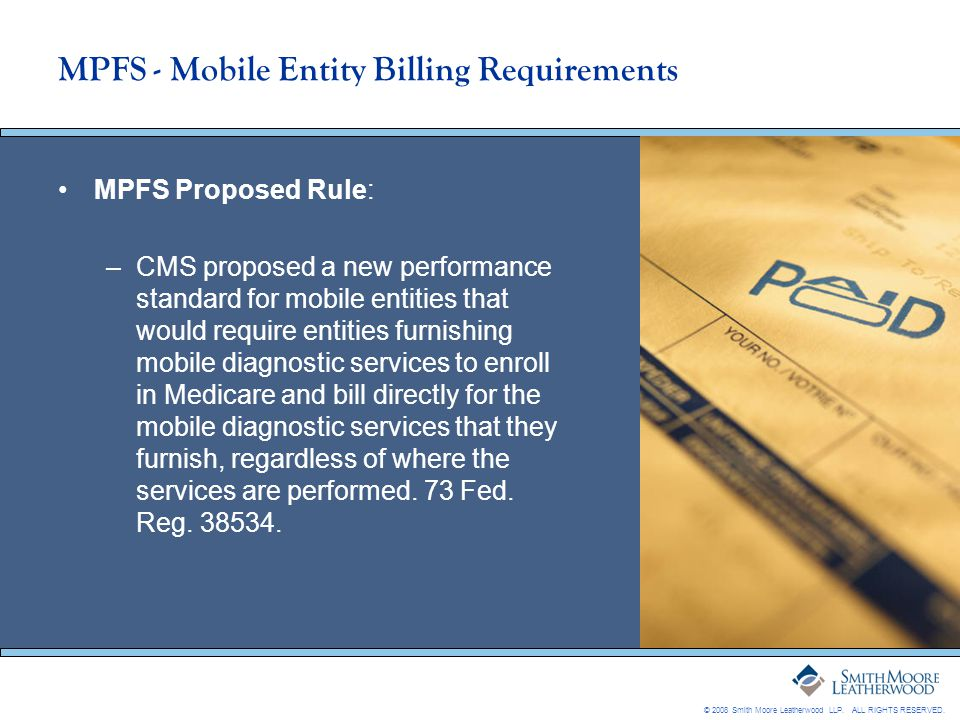 MPFS - Mobile Entity Billing Requirements