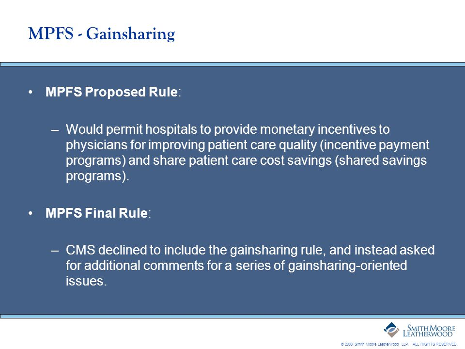 MPFS - Gainsharing MPFS Proposed Rule: