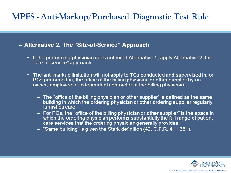 MPFS - Anti-Markup/Purchased Diagnostic Test Rule