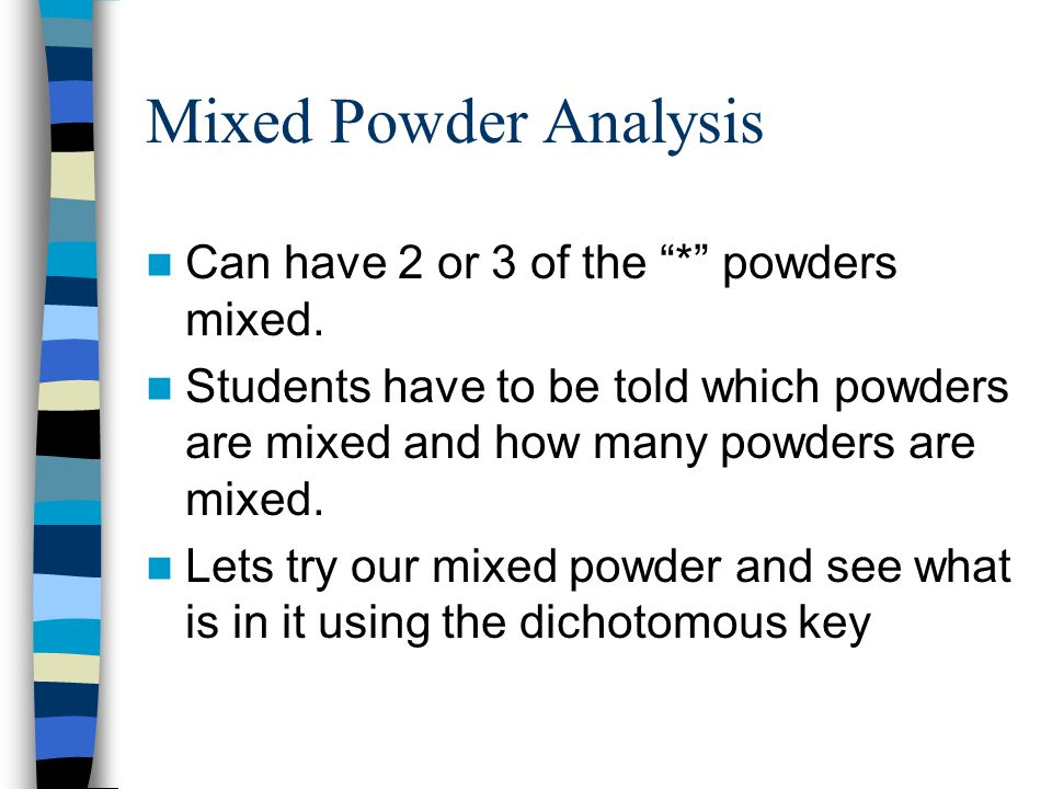 Mixed Powder Analysis Can have 2 or 3 of the * powders mixed.