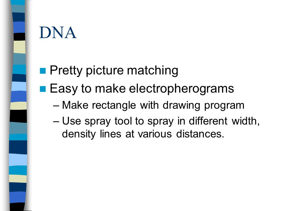 DNA Pretty picture matching Easy to make electropherograms