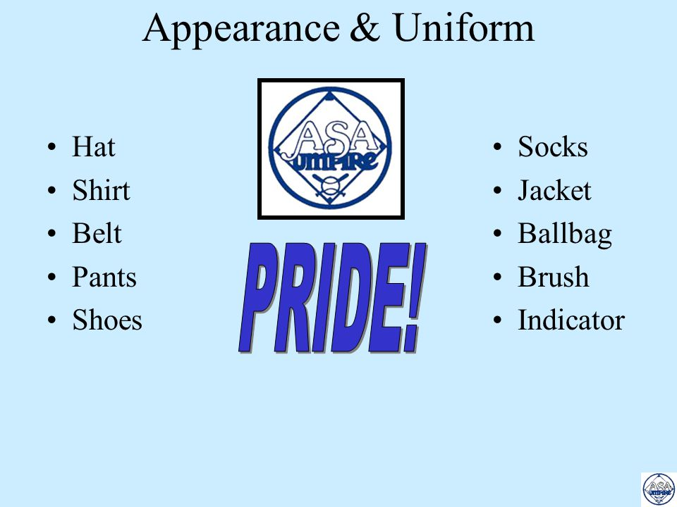 Appearance & Uniform PRIDE! Hat Shirt Belt Pants Shoes Socks Jacket