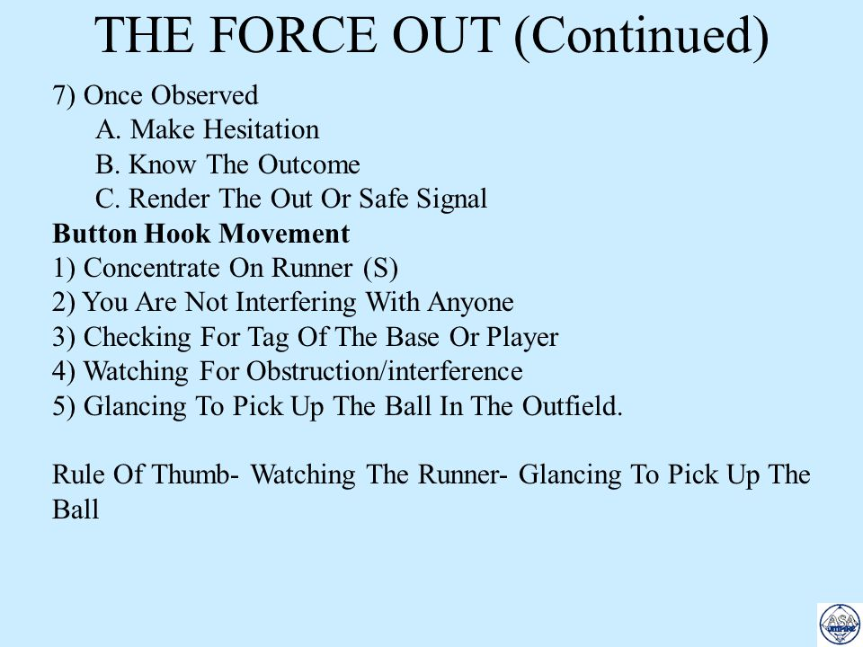 THE FORCE OUT (Continued)