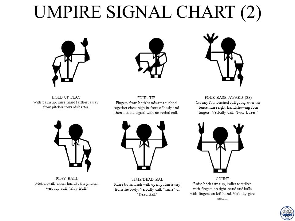 UMPIRE SIGNAL CHART (2) HOLD UP PLAY FOUL TIP FOUR-BASE AWARD (SP)