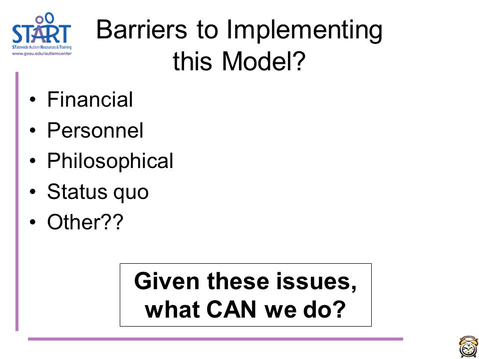 Barriers to Implementing this Model