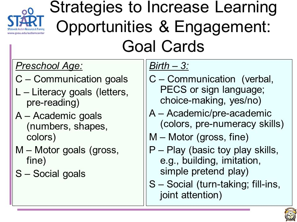 Strategies to Increase Learning Opportunities & Engagement: Goal Cards