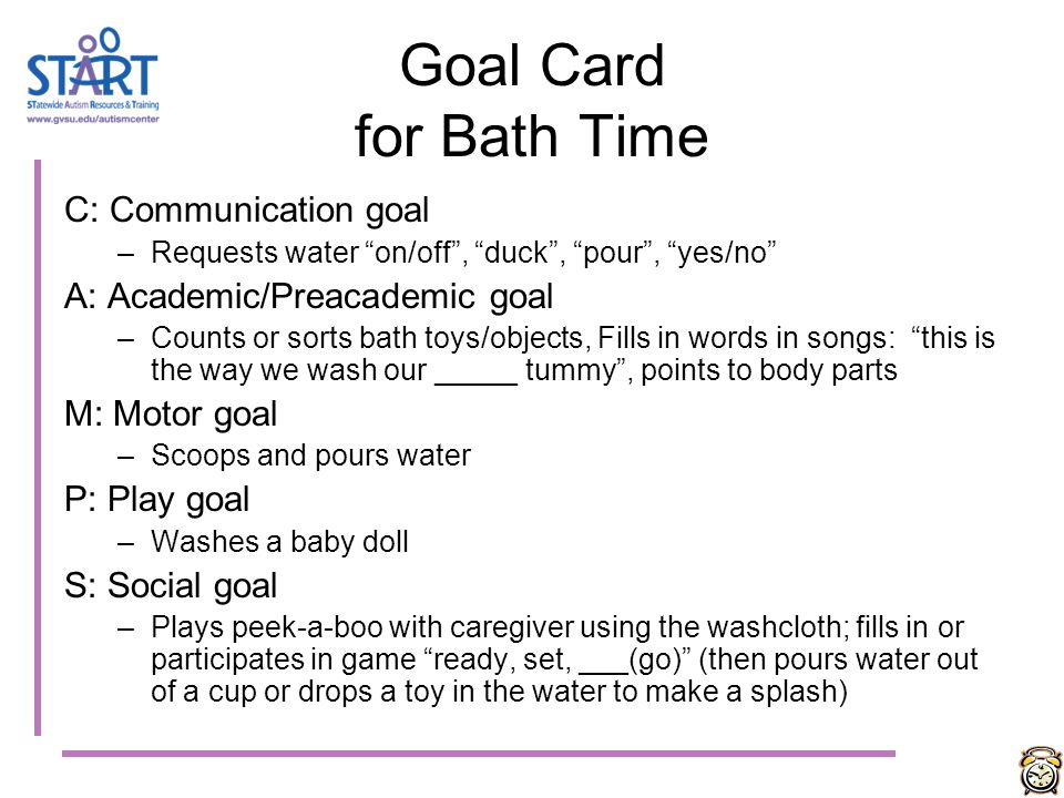 Goal Card for Bath Time C: Communication goal