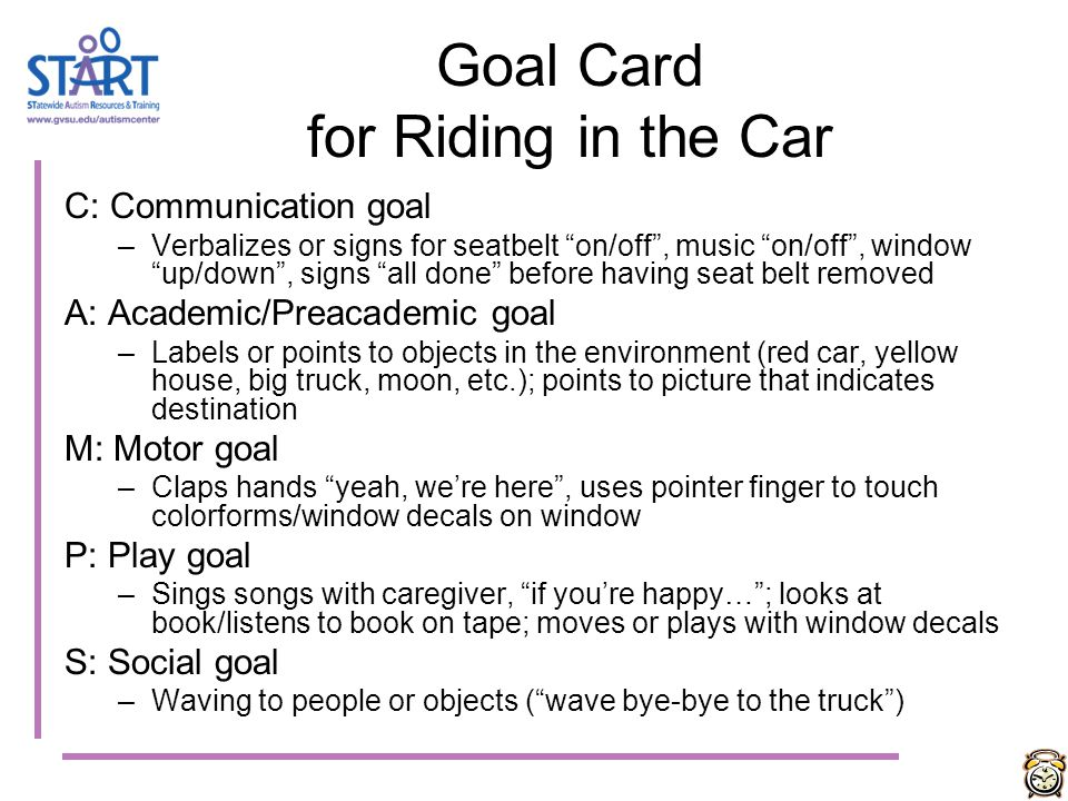 Goal Card for Riding in the Car