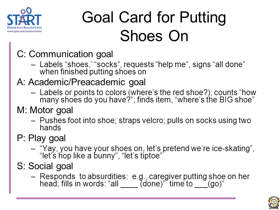 Goal Card for Putting Shoes On