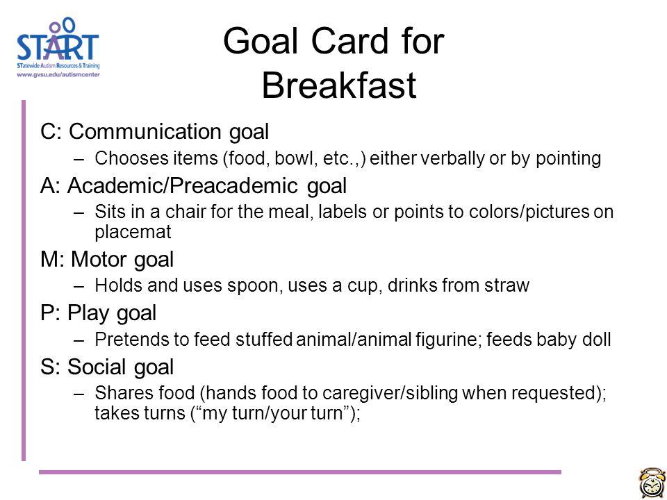 Goal Card for Breakfast