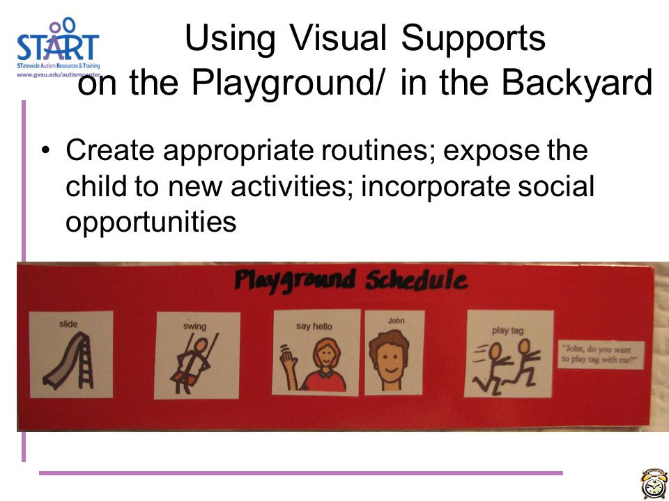 Using Visual Supports on the Playground/ in the Backyard