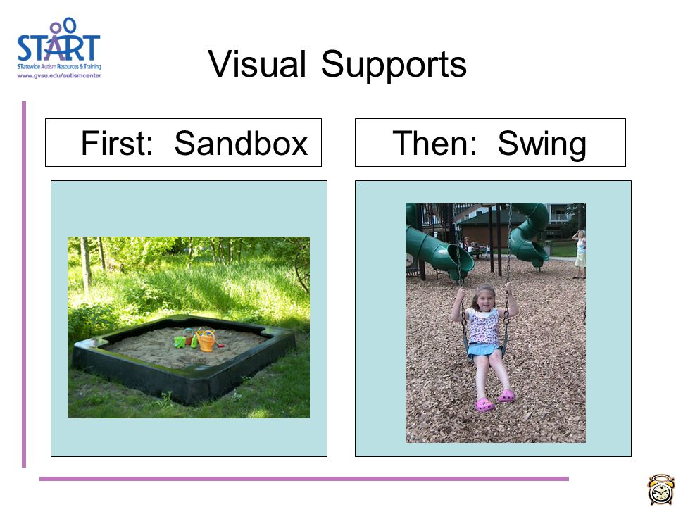 Visual Supports First: Sandbox Then: Swing