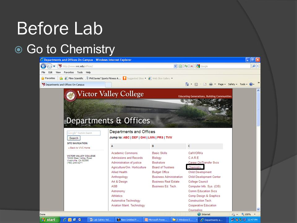 Before Lab Go to Chemistry