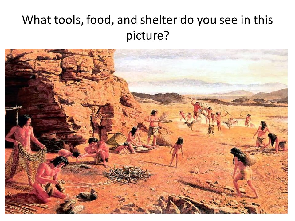 What tools, food, and shelter do you see in this picture