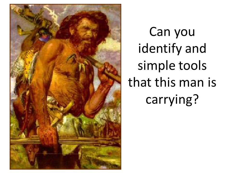 Can you identify and simple tools that this man is carrying