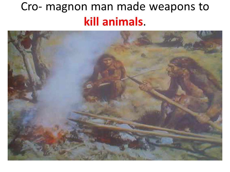 Cro- magnon man made weapons to kill animals.
