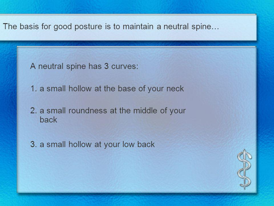 The basis for good posture is to maintain a neutral spine…