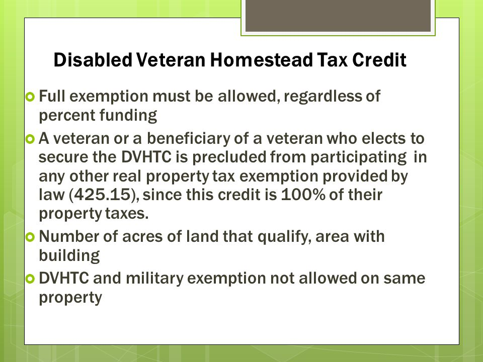 Disabled Veteran Homestead Tax Credit