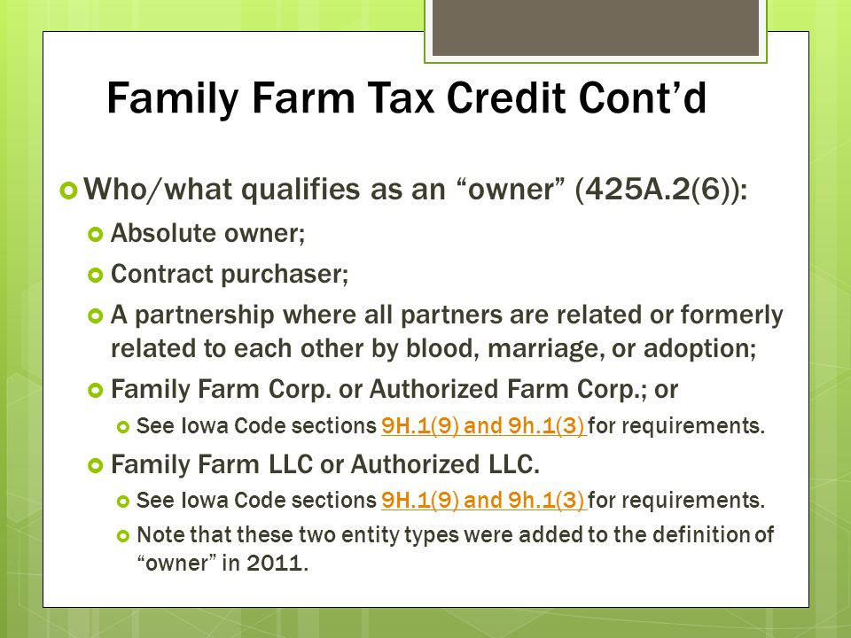 Family Farm Tax Credit Cont'd