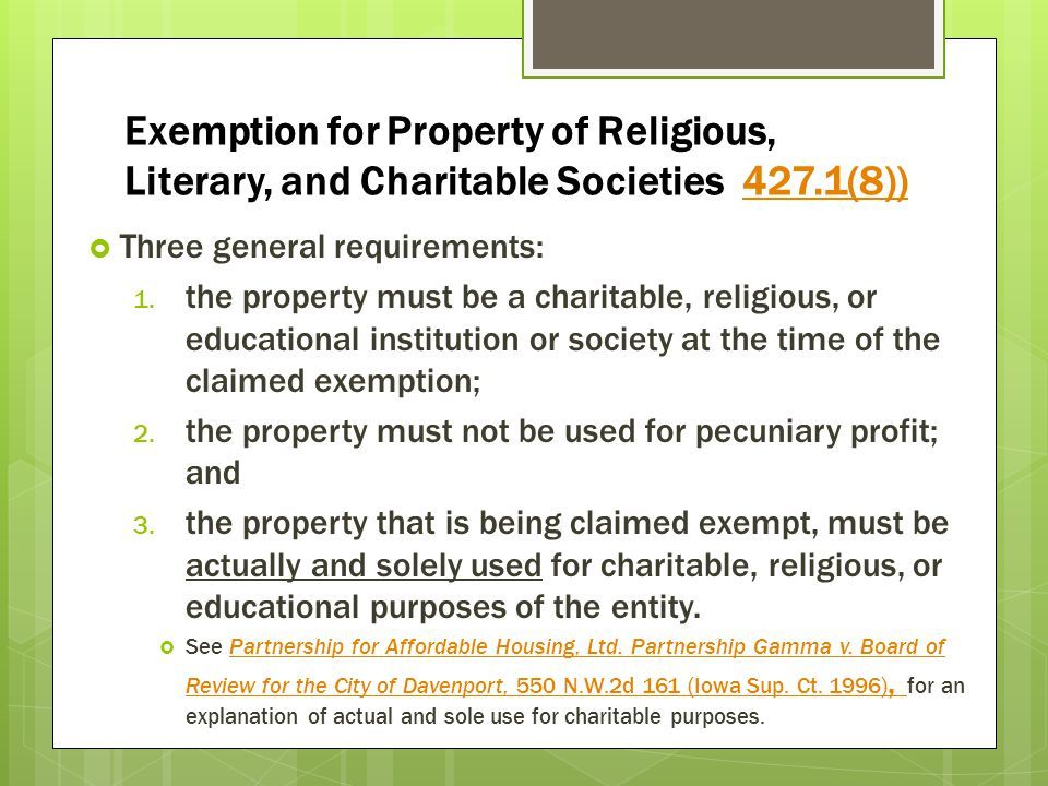 Exemption for Property of Religious, Literary, and Charitable Societies 427.1(8))