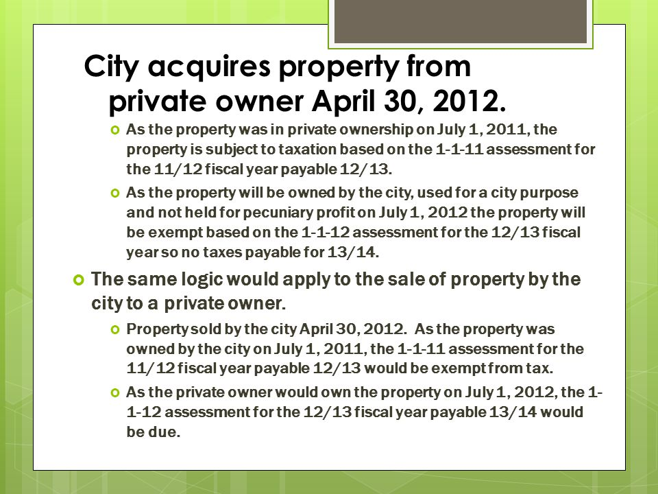 City acquires property from private owner April 30, 2012.