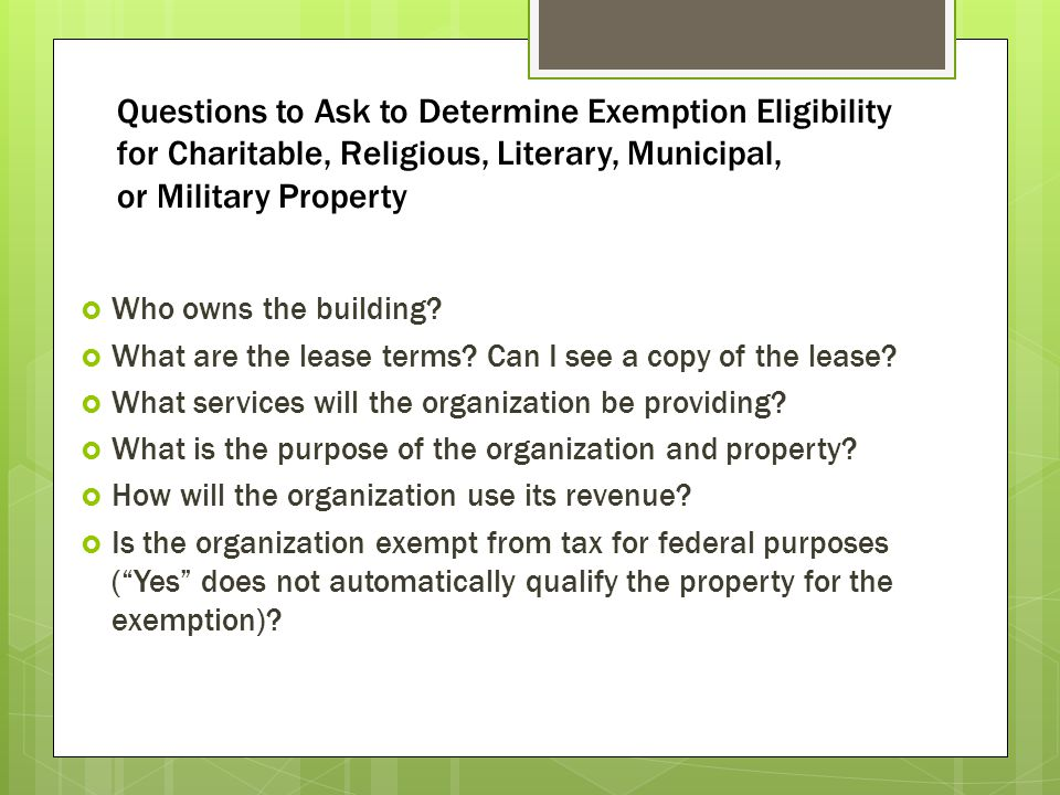 Questions to Ask to Determine Exemption Eligibility