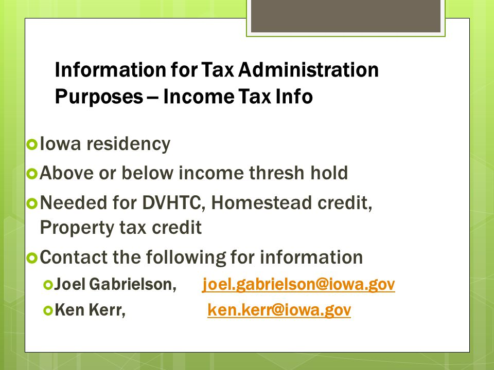 Information for Tax Administration Purposes -- Income Tax Info