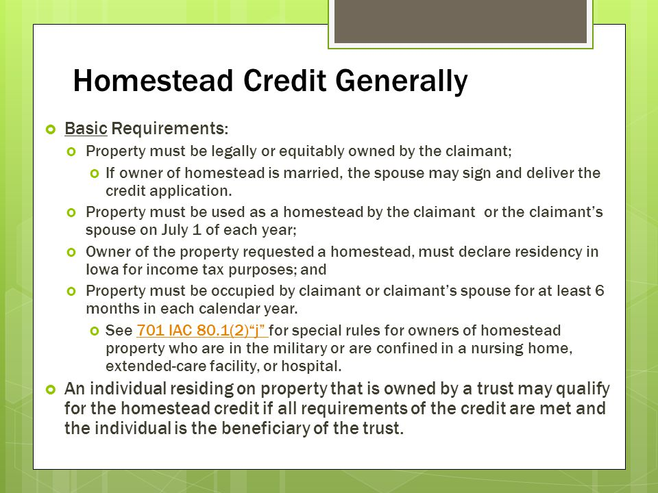 Homestead Credit Generally
