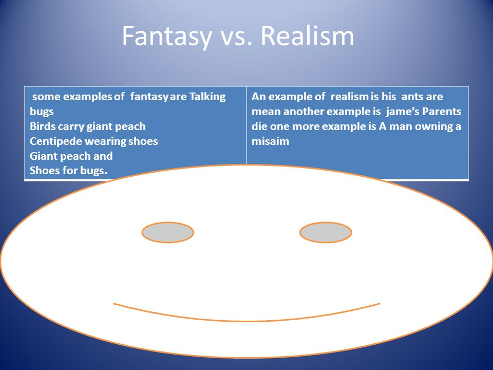 Fantasy vs. Realism some examples of fantasy are Talking bugs