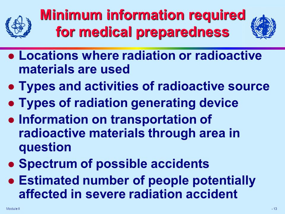 Minimum information required for medical preparedness