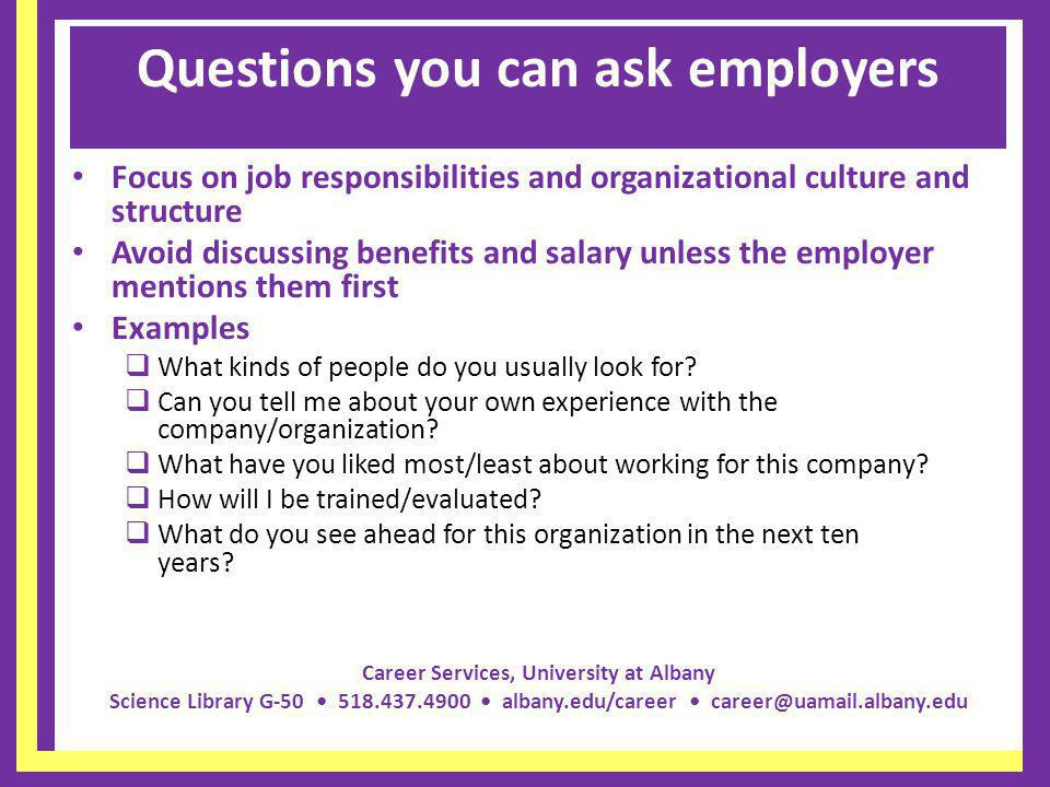 Questions you can ask employers