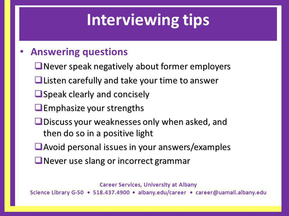 Interviewing tips Answering questions