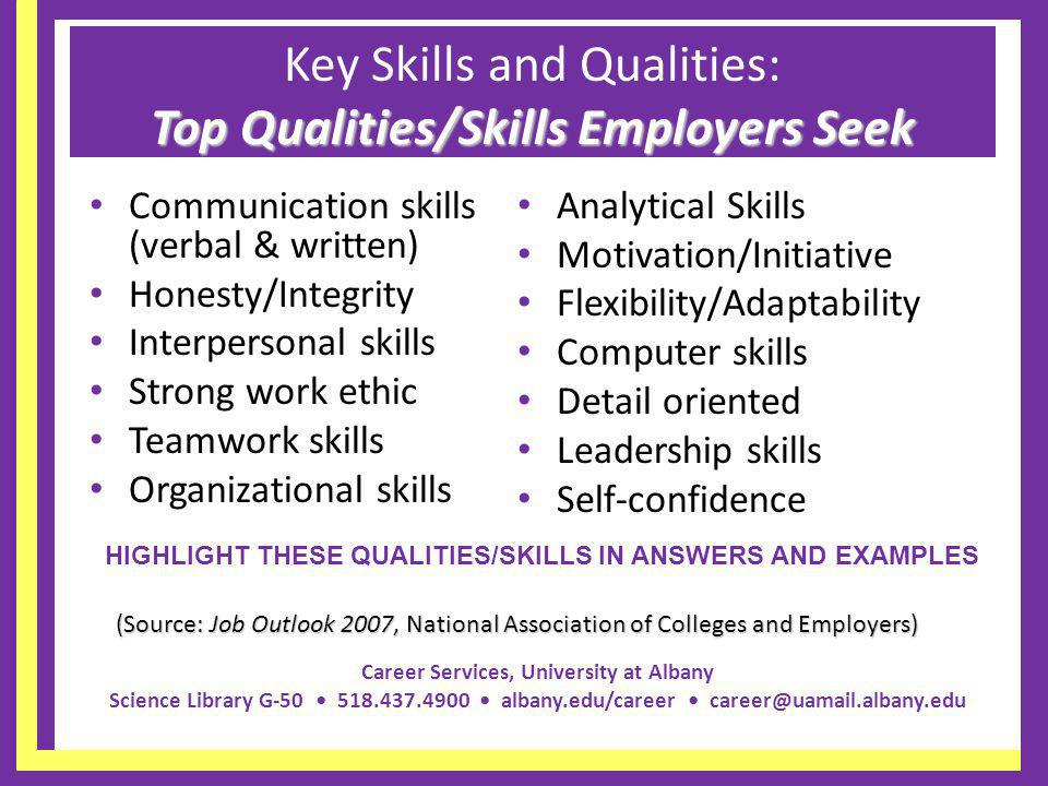Key Skills and Qualities: Top Qualities/Skills Employers Seek
