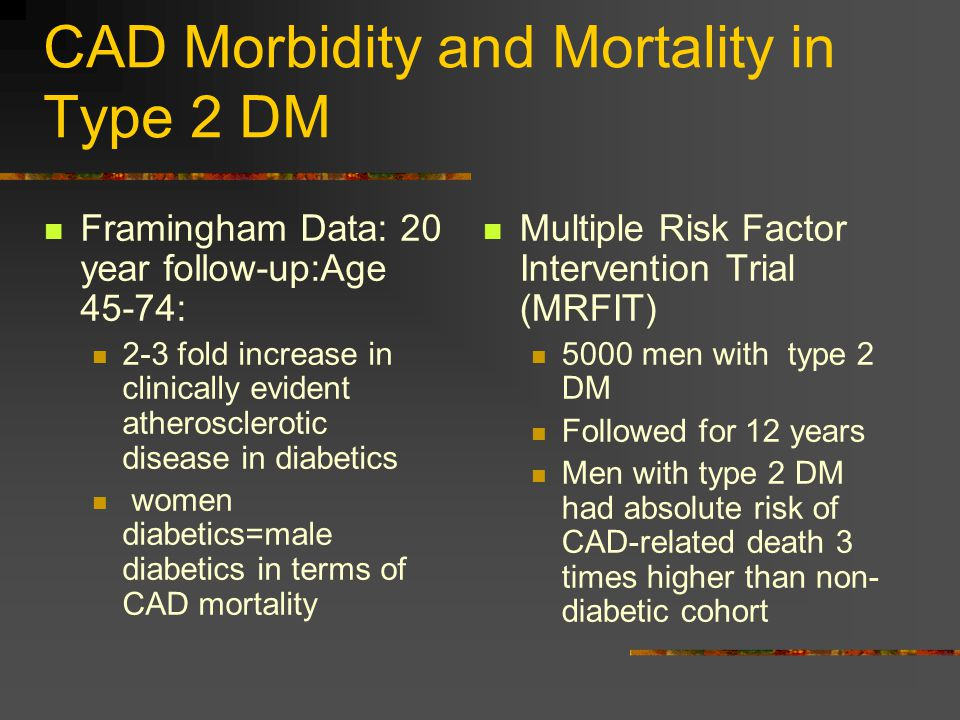 CAD Morbidity and Mortality in Type 2 DM