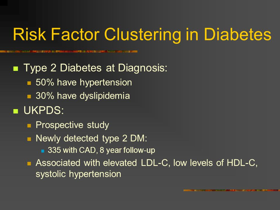 Risk Factor Clustering in Diabetes