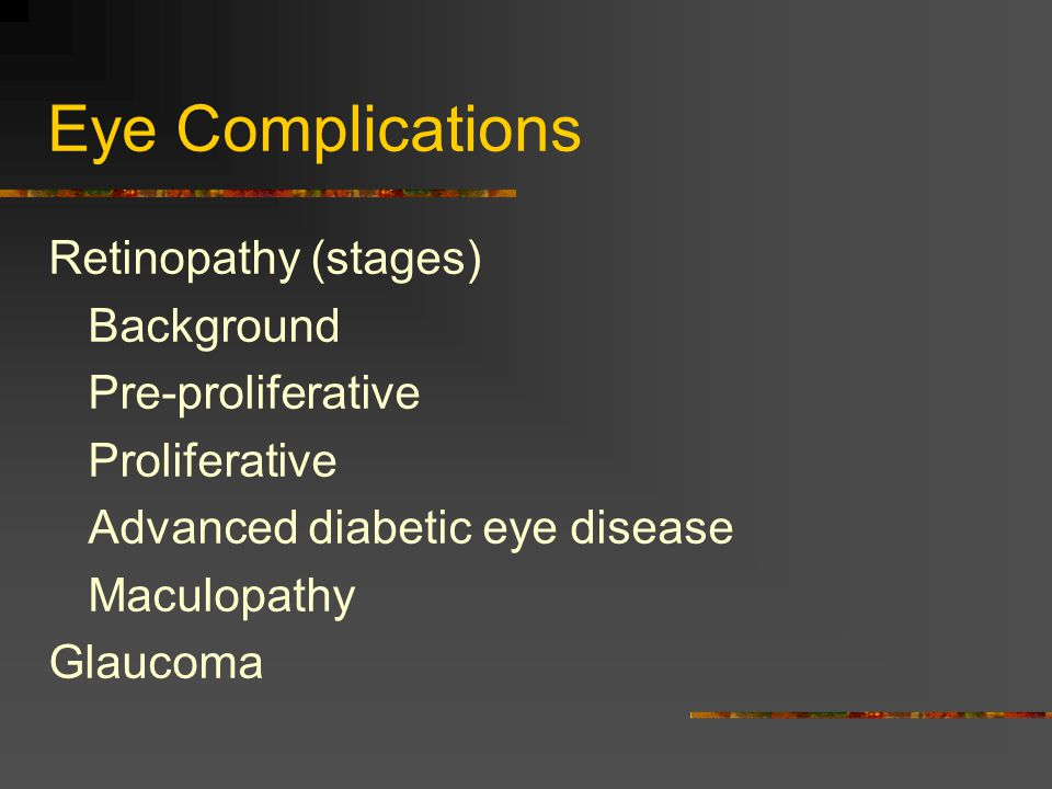 Eye Complications Retinopathy (stages) Background Pre-proliferative