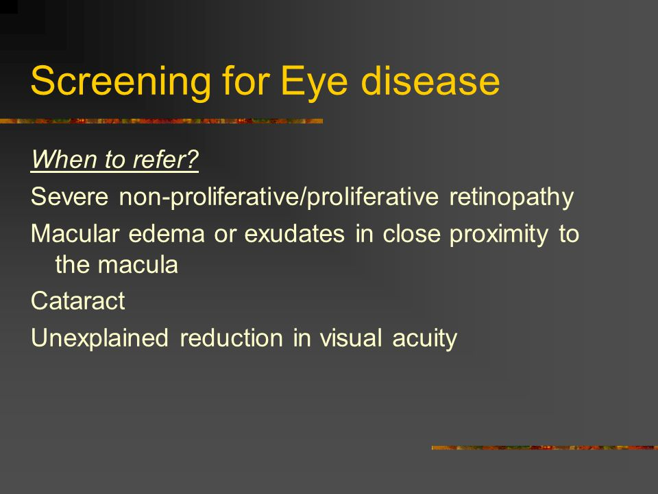 Screening for Eye disease