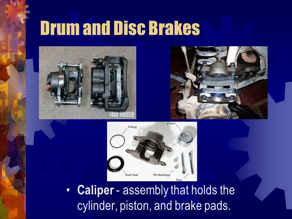 Drum and Disc Brakes Caliper - assembly that holds the cylinder, piston, and brake pads.
