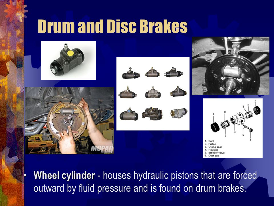 Drum and Disc Brakes Wheel cylinder - houses hydraulic pistons that are forced outward by fluid pressure and is found on drum brakes.
